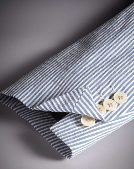 Striped Cotton Jacket - Blue