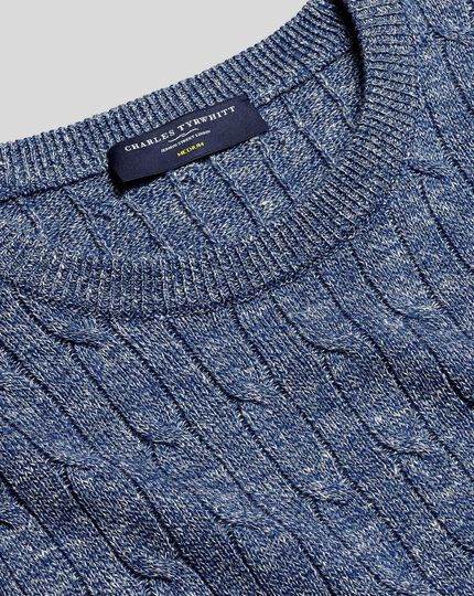 Merino Linen Cable Knit Crew Neck Sweater - Blue
