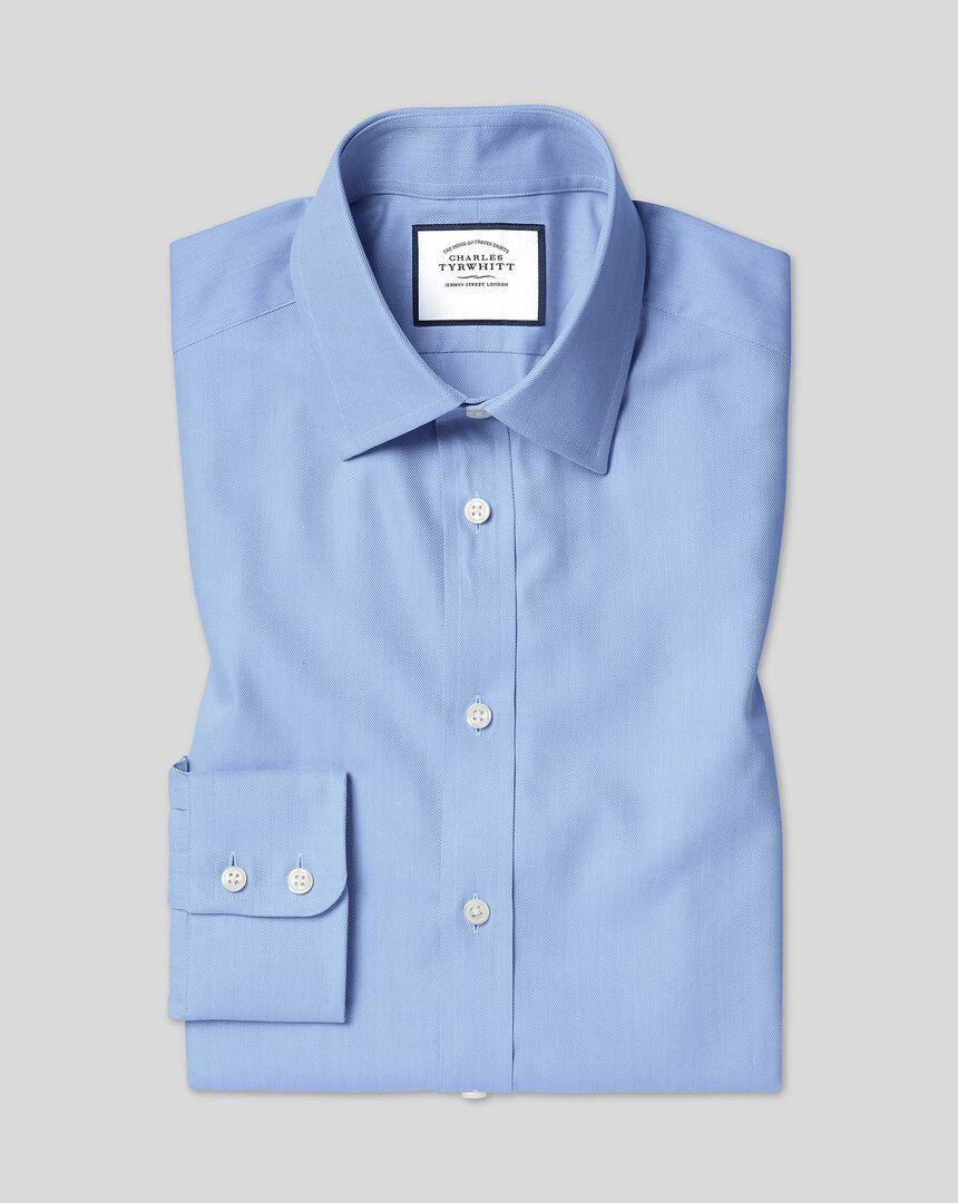 Classic Collar Egyptian Cotton Herringbone Shirt - Sky