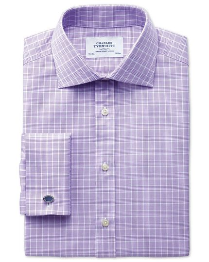 Classic fit Prince of Wales basketweave lilac shirt