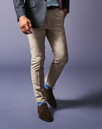 Non-Iron Stretch Pants - Stone