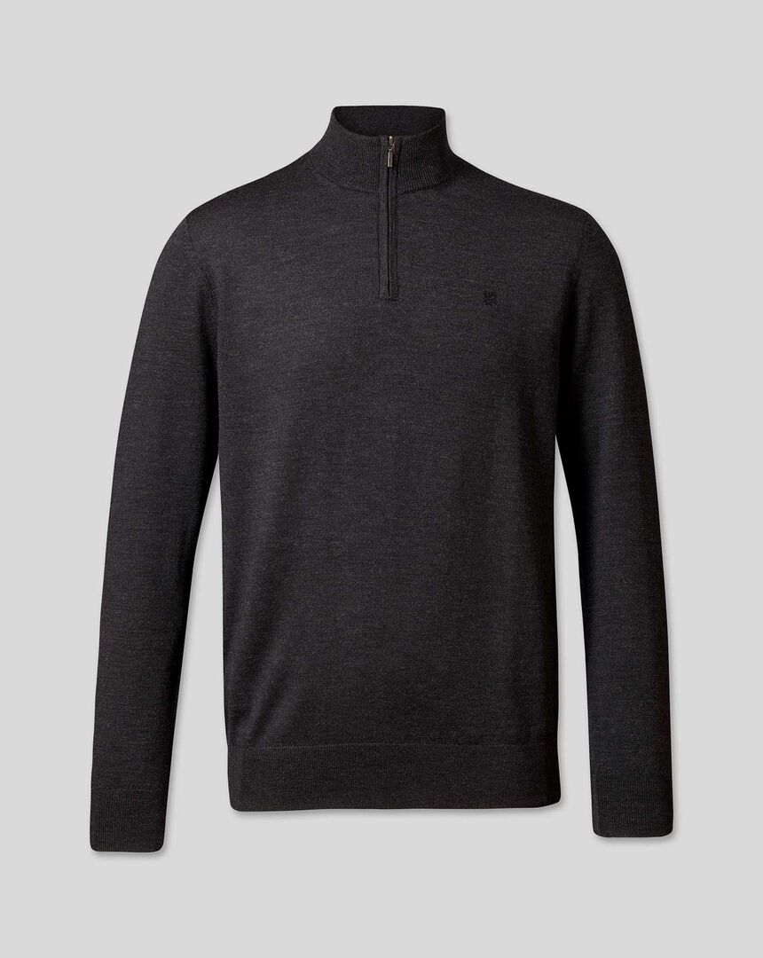 England Rugby Merino Zip Neck Sweater - Dark Charcoal