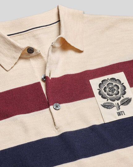 LIMITED EDITION England Rugby Merino Polo Stripe Sweater - Stone