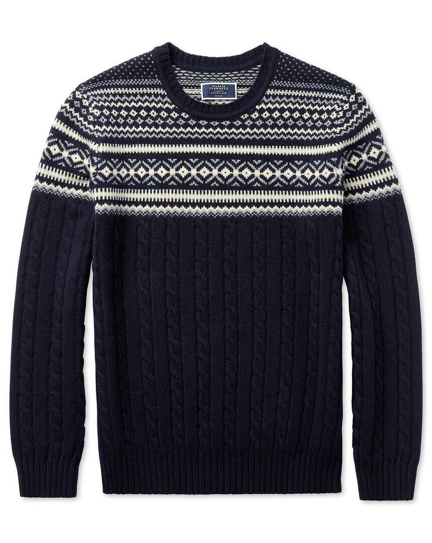 Navy jacquard Fairisle with cable placement crew neck jumper