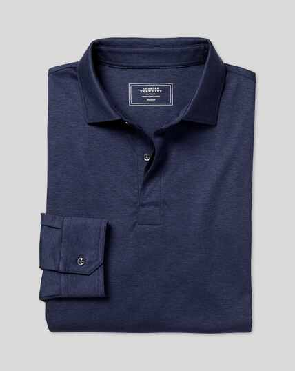 Cotton TENCEL™ Mix Long Sleeve Polo - Indigo