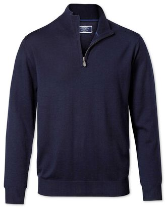Navy merino wool zip neck sweater