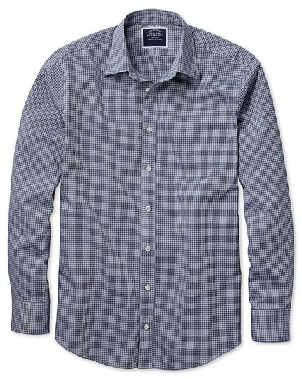 Classic fit blue and grey check soft textured shirt