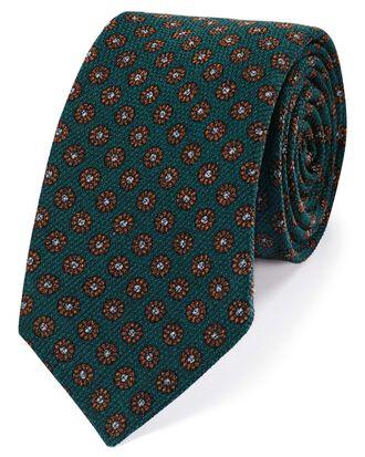 Green wool floral print Italian luxury tie