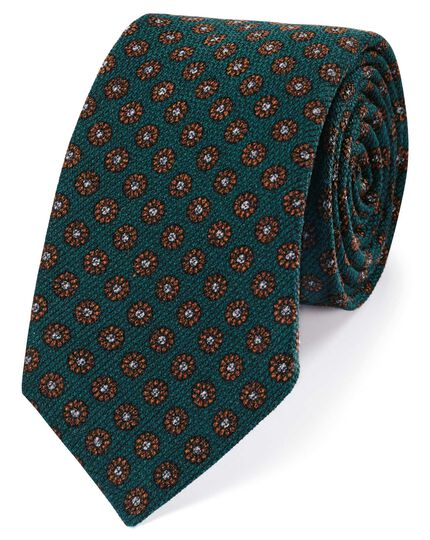 Green wool floral print Italian luxury tie