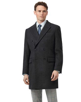 Charcoal wool cashmere Epsom overcoat