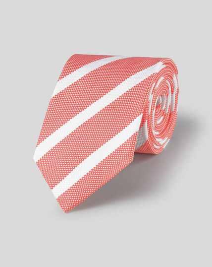 Krawatte aus Seide-Leinen mit Streifen - Korallenrot & Weiß