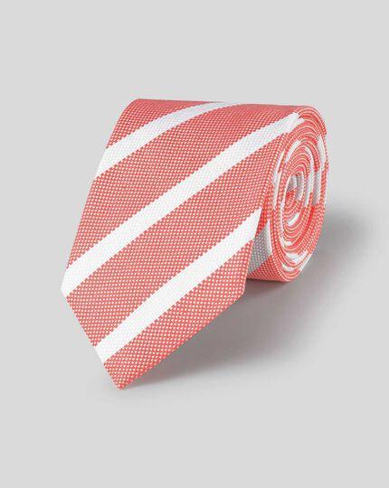 Silk Linen Stripe Tie - Coral & White