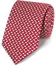 Red rabbit print classic tie