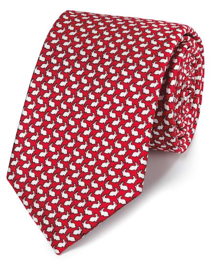 Red rabbit print classic tie