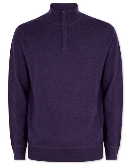 Dark purple merino cashmere zip neck sweater