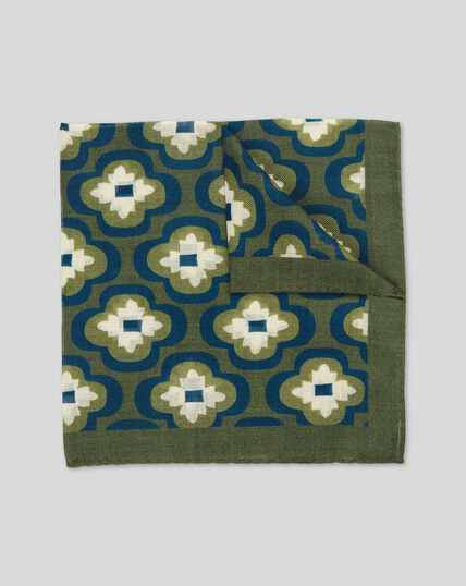 Floral Italian Luxury Pocket Square - Green & Navy