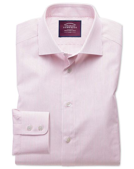 Slim fit semi-spread collar luxury poplin red and white shirt