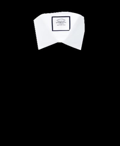 Classic fit fine herringbone white shirt