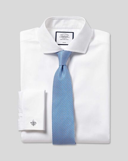 Extreme Cutaway Collar Non-Iron Twill Shirt - White