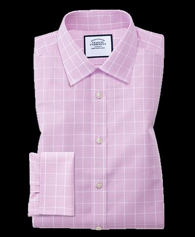 Bügelfreies Classic Fit Hemd mit Prince-of-Wales-Karos in Rosa