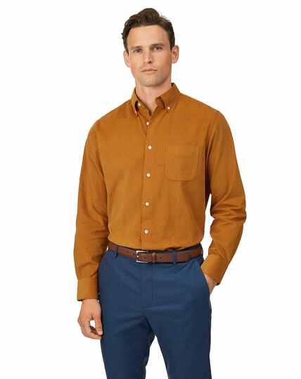 Slim Fit Hemd mit Button-down Kragen und feinem Kordsamt in Dunkelgelb