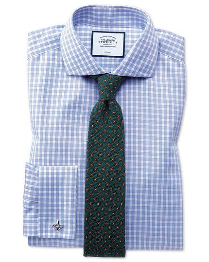 Slim fit non-iron twill gingham sky blue shirt