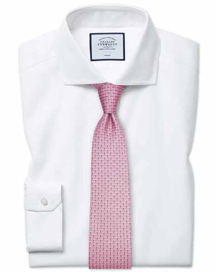 Chemise blanche à col cutaway en oxford stretch super slim fit sans repassage
