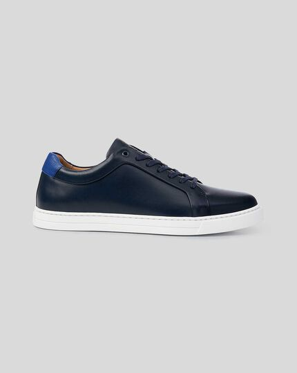 Leather Trainer  - Navy