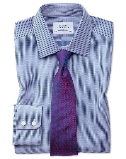 Classic fit Egyptian cotton diamond spot navy blue shirt