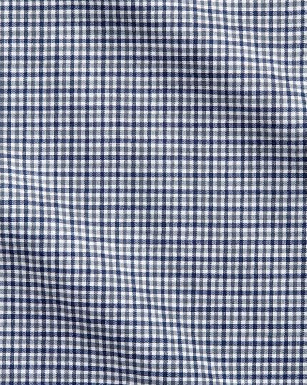 Slim fit semi-cutaway business casual gingham navy and grey shirt