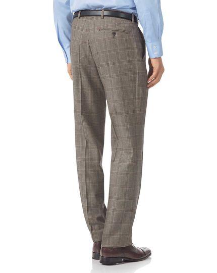 Classic Fit Luxusanzug-Hose aus britischem Material mit Prince-of-Wales-Karos in Grau