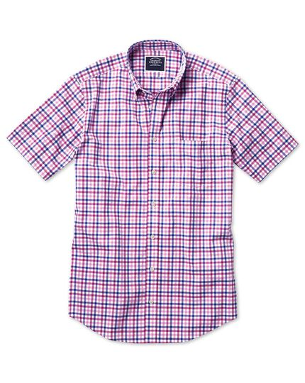 Slim fit poplin short sleeve pink multi gingham shirt