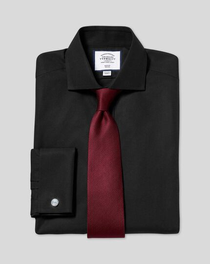 Spread Collar Non-Iron Poplin Shirt  - Black