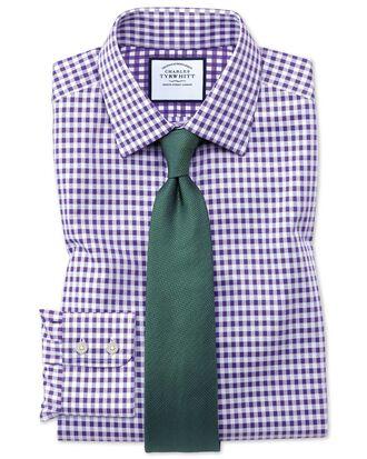 Bügelfreies Classic Fit Hemd in Lila mit Gingham-Karos
