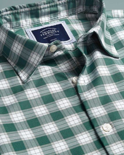 Slim fit green and white check soft wash non-iron stretch Oxford shirt
