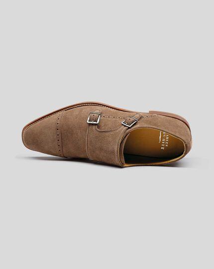Flexible Sole Suede Double Buckle Monk Shoe - Tan