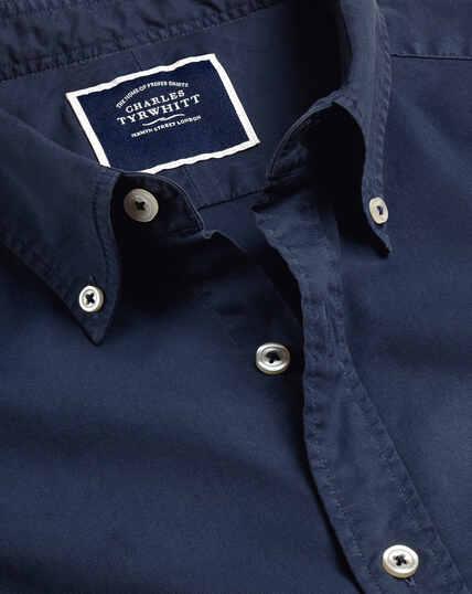 Garment Dyed Fine Twill Shirt - Navy
