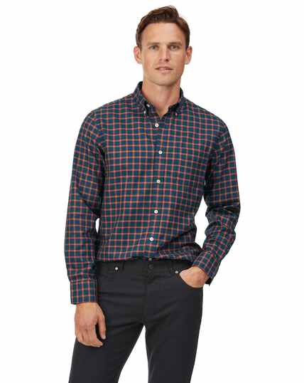Slim fit soft washed non-iron twill navy and orange windowpane check shirt