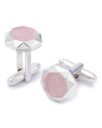 Rose Quartz octagon luxury cufflinks