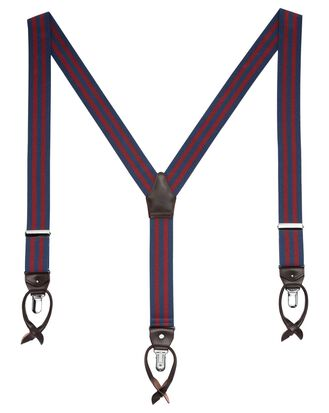 Navy and burgundy stripe suspenders