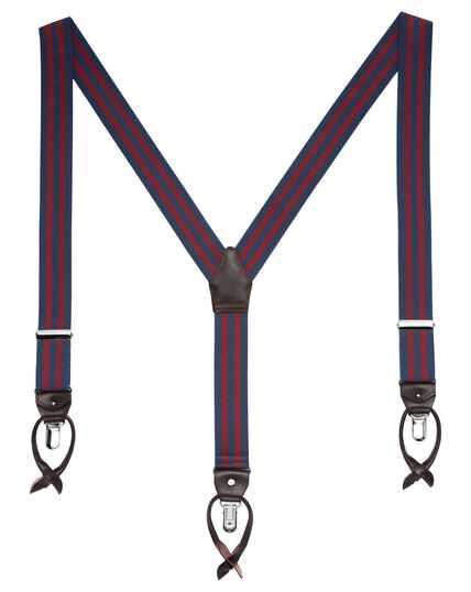Navy and burgundy stripe suspenders