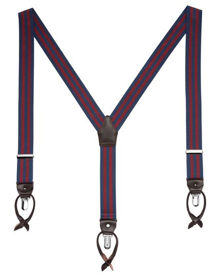 Navy and burgundy stripe braces