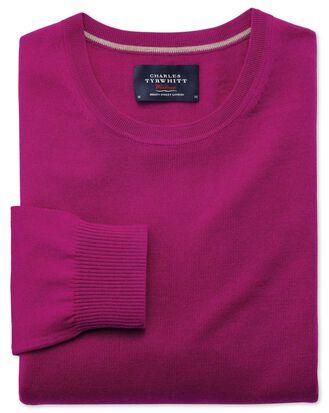 Fuchsia merino crew neck sweater