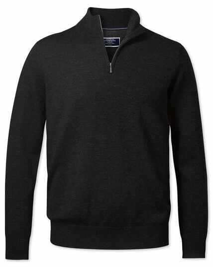 Dark charcoal merino zip neck jumper