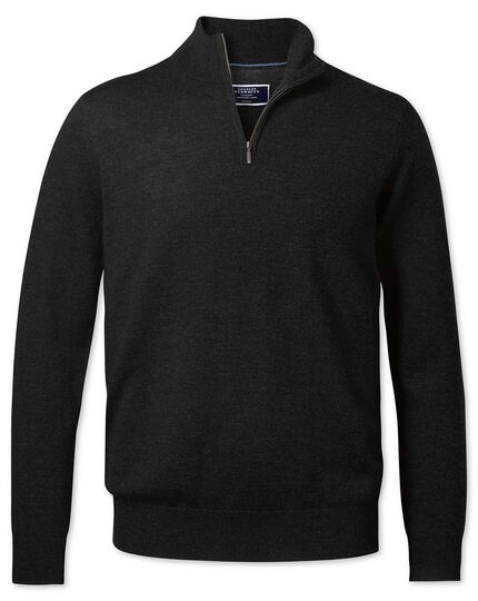 Dark charcoal merino zip neck sweater