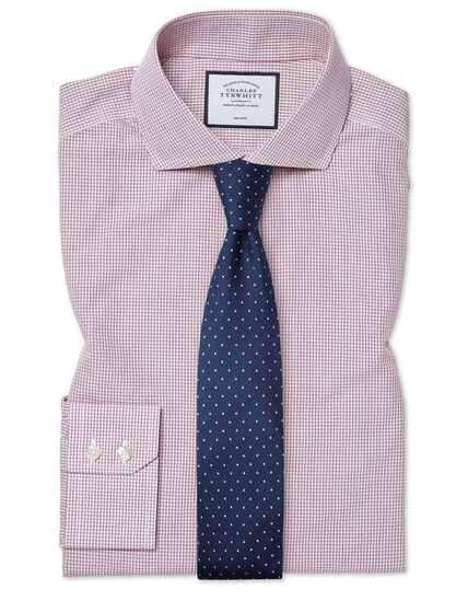 Bügelfreies Tyrwhitt Cool Slim Fit Popeline-Hemd mit Karos in Beerenrot
