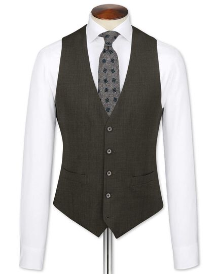 Brown end-on-end business suit waistcoat