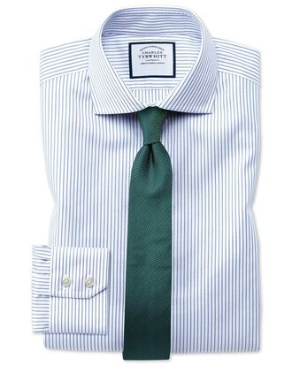 Extra slim fit spread collar non-iron cotton stretch Oxford stripe blue and white shirt