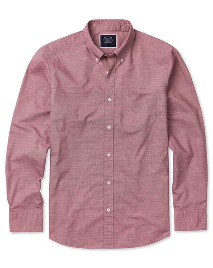 Vorgewaschenes Slim Fit Popeline-Hemd aus Stretchgewebe in Rot