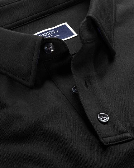 Black jersey polo shirt